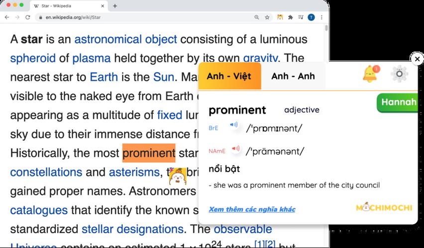 mochi dictionary bôi đen từ cần tra